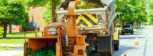 wood chipper cutting up limbs and leaves